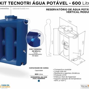 imagem Cisterna vertical modular  600L para Água Potável