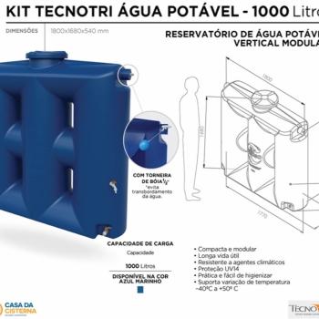 imagem Cisterna vertical modular  1000L para Água Potável