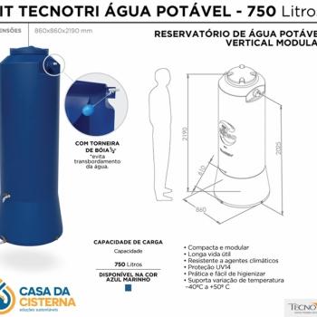 imagem Cisterna vertical modular  750L para Água Potável