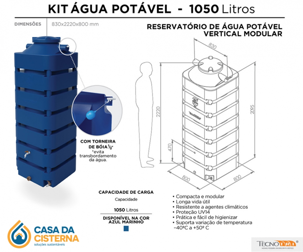 imagem Cisterna vertical modular  1050L para Água Potável